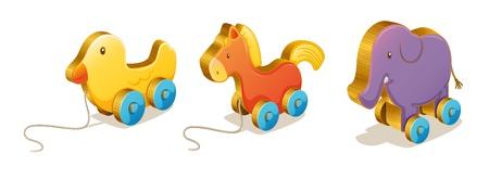 pull toy: Ilustración de diversos juguetes en un fondo blanco Vectores
