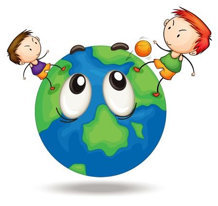 planeta tierra feliz: ilustraci�n de los ni�os en un globo terr�queo sobre fondo blanco Vectores