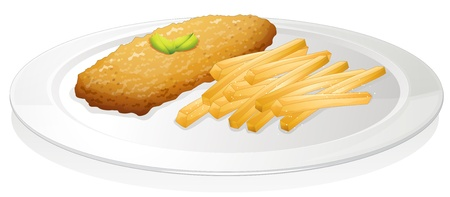illustration of a french fries and cutlet on a white background Vector