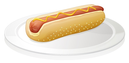 illustration of sausages with bread on a white background Stock Vector - 15328559