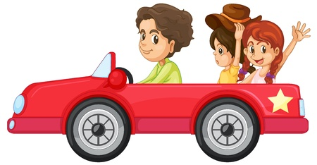 woman driving: illustration of a kids and a car on a white background