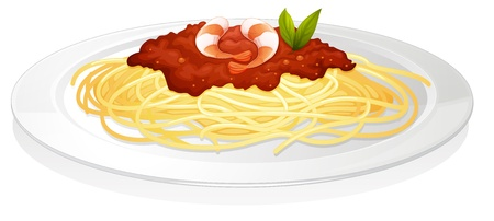 meat dish: illustration of a nuddles on a white background Illustration