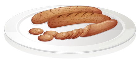 illustration of sausages on a white background Stock Vector - 15328561