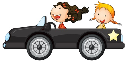 open car: illustration of a girls and a car on a white background
