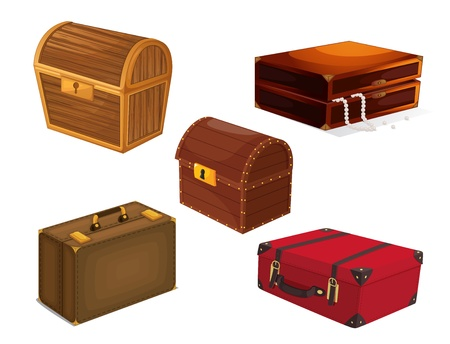 treasure chest: illustration of a various bags on a white background