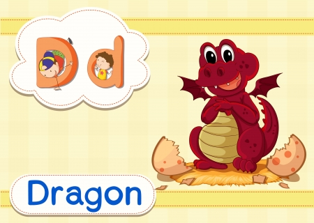 letter alphabet pictures: illustration of a dragon  and alphabets with picture Illustration