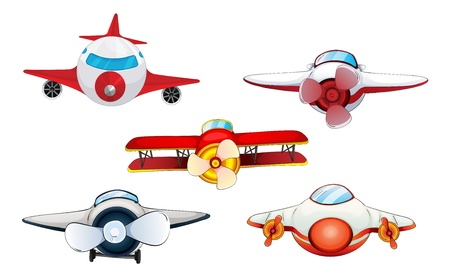 propellers: illustration of various aeroplanes on a white background
