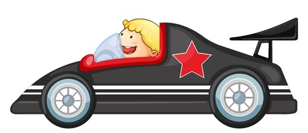 small car: illustration of a boy and racing car on a white background Illustration