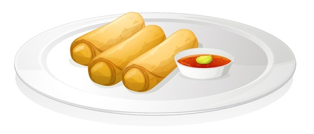 bread rolls: illustration of bread roll and sauce on a white background