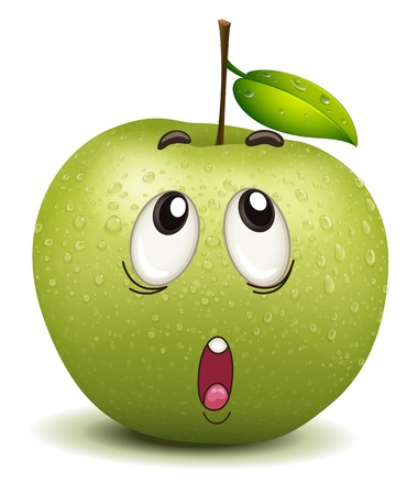 fruit stalk: illustration of a wondering apple smiley on a white