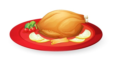 roast dinner: illustration of chicken flesh in a dish on a white background Illustration