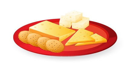 cracker: illustration of cheese biscuits in plate on a white background