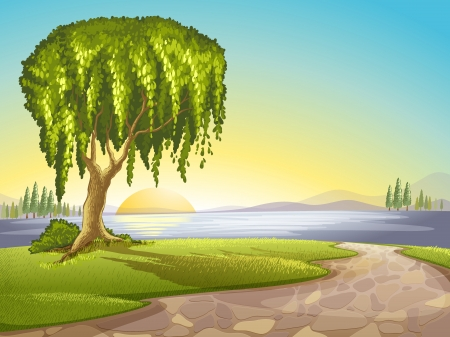 lanscape: illustration of a green landscape and lake Illustration