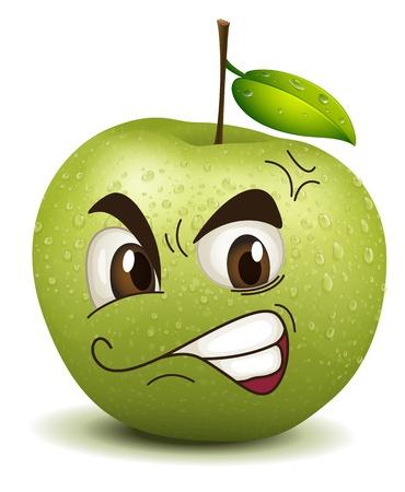 frutas divertidas: ilustraci�n envidia manzana sonriente sobre un fondo blanco