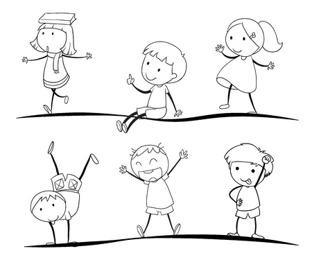niños dibujando: tapas bocetos de actividad sobre un fondo blanco