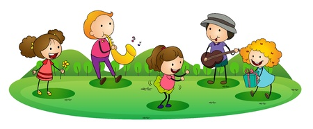 guitar illustration: illustration of a happy kids playing music