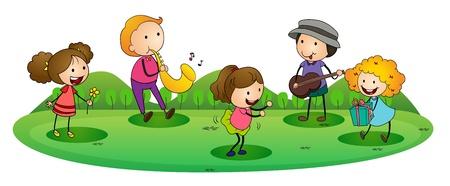 tocando musica: ilustraci�n de un ni�os felices jugando m�sica