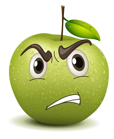 fruit stalk: illustration angry apple smiley on a white Illustration