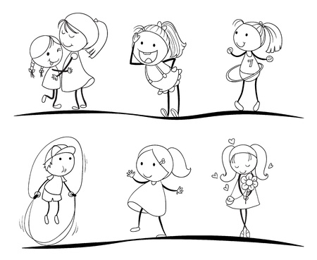 woman jump: kids activity sketches on a white background