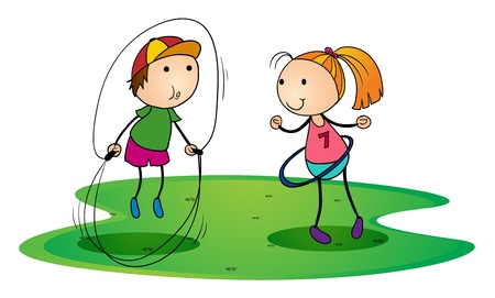 illustration of kids playing outdoor with skipping rope and ring Vector