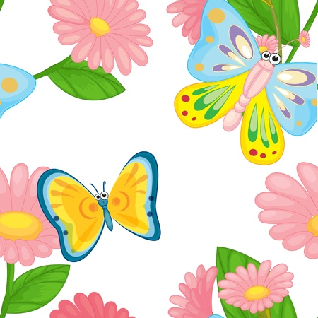 illustration of flowers and butterflies on a white Vector