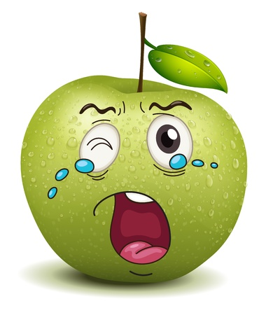fruit stalk: illustration of crying apple smiley on a white background