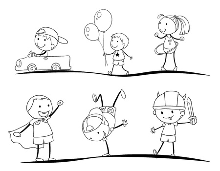 kids costume: kids activity sketches on a white background