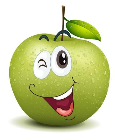 ilustración de la manzana guiño sonriente sobre un fondo blanco Vectores