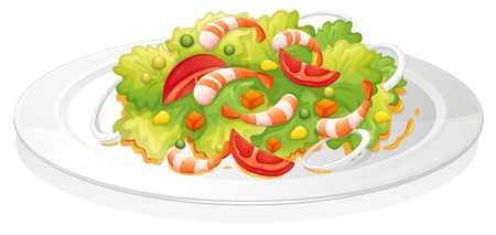 cucumber salad: illustration of a salad on a white background