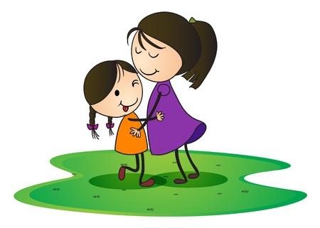 grande e piccolo: illustrazione di una ragazza che si abbracciano l'un l'altro