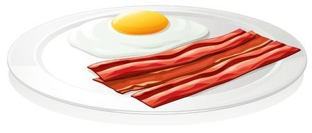 плоть: иллюстрация яйца омлет в блюдо на белом фоне