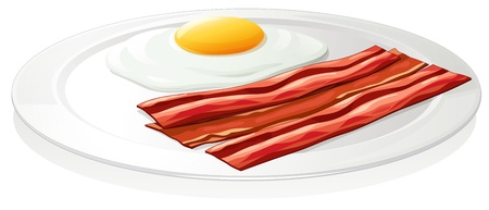 bacon art: illustration of egg omlet in a dish on a white background
