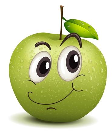 frutas divertidas: ilustraci�n de feliz sonriente manzana sobre un fondo blanco