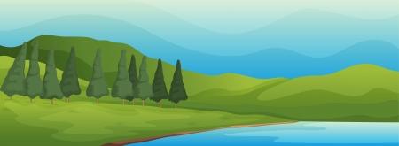 strumień: Ilustracja zielony krajobraz i jezioro