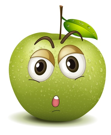 illustration of quite apple smiley on a white Vector