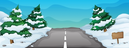 winter road: illustration of a snowy landscape and a road