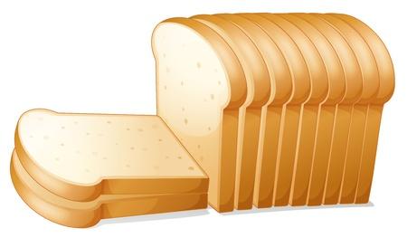 sliced: ilustraci�n de una rebanadas de pan en un fondo blanco Vectores