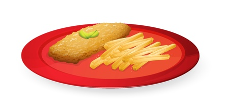 fried: illustration of patice and french fries in plate on a white background  Illustration