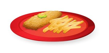 steak plate: ilustraci�n de patice y papas fritas franc�s en placa sobre un fondo blanco