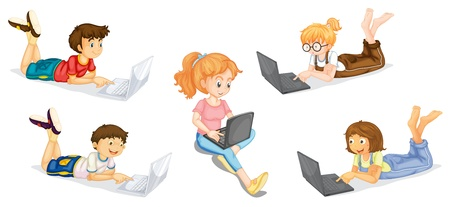 computer education: llustration of a kids with laptop on a white background Illustration