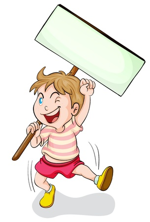 child holding sign: illustration of a boy holding white board in a white background