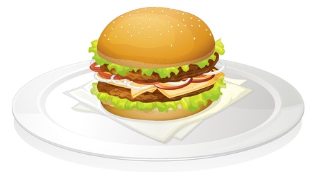 onion slice: illustration of a burger on a white background