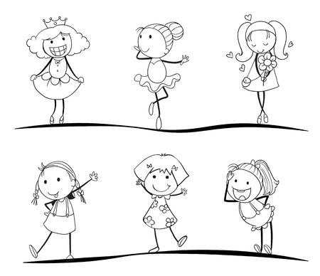 kids activity sketches on a white background Vector