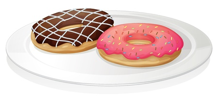 illustration of a donut in plate on a white background Vector