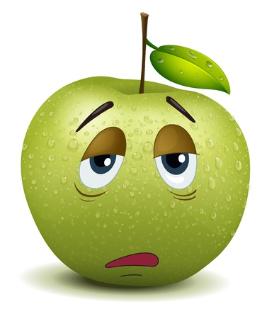 boring: illustration of dull apple smiley on a white Illustration