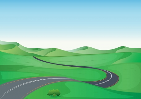 krökt: illustration av ett grönt landskap och en väg