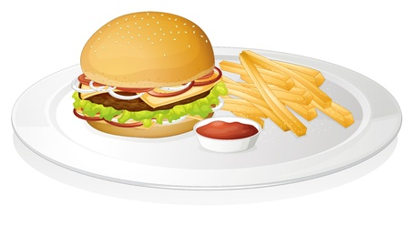 chutney: illustration of burger, french fries and sauce on a white background