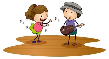 enfants qui dansent: illustration de gosses jouant de la guitare na blanc