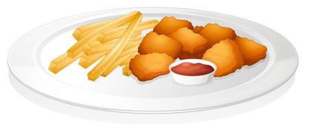 nuggets pollo: ilustración de un francés fritas, chuleta y la salsa en un fondo blanco
