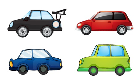 carritos de juguete: Ilustraci�n de varios coches en un fondo blanco Vectores